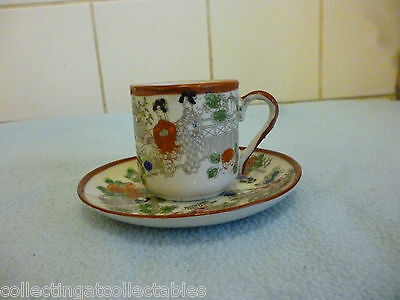Beautiful Antique Japanese Hand painted Cup And Saucer