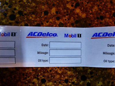 AC Delco Mobil 1 Oil change reminder windshield cling stickers Qty 27
