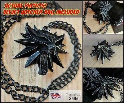 UK Sale! Witcher 3 Wild Hunt Necklace Geralt Medallion Pendant Wolf Jewelry Game