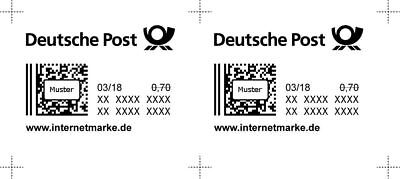 2 x 0,70€ NEU Internetmarke Briefmarke Porto Deutsche Post Marke