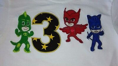PJ Mask Embroidered tshirt or baby jumpsuit