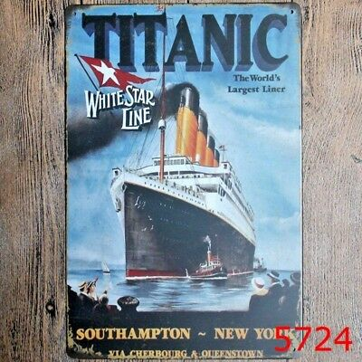 Vintage- Retro - Chic- Metal Wall Sign- Plaque- Titanic  -Large Size-480