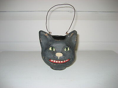 Halloween black cat, paper mache with paper inserts
