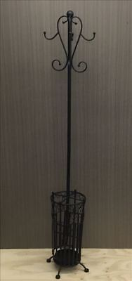 French Country Vintage Inspired Wrought Iron Black Coat or Hat Stand with Umb...