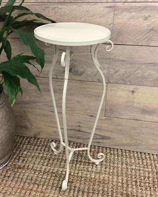 French Country Vintage Inspired Wrought Iron Cream Round Table Plant Stand New