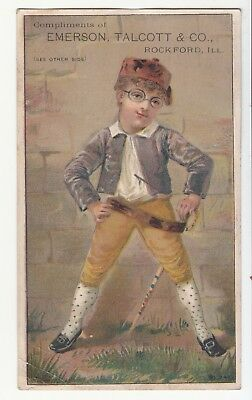 Emerson Talcott & Co Rockford IL Mowers Boy Spectacles Cane Vict Card c1880s