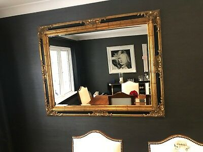 Large French Ornate Rococo Mirror - Antique Gold & Black