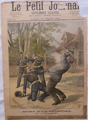 Antique print petit journal french mort D'Un Criminal,1891