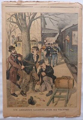 Antique print petit journal french un assassin ligotte par sa victime