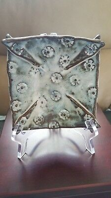 """Signed Handmade Pottery Dish: Blue, Cream, Brown Embossed Flowers 6"""" Square Bowl"""
