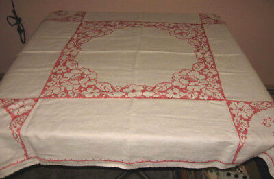 VINTAGE HAND STITCHED WHITE LINEN TABLECLOTH w/RED CROSS STITCH EMBROIDERY