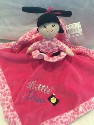 Baby Essentials Little Diva Born To Shop Pink Doll Purse Security Blanket Lovey