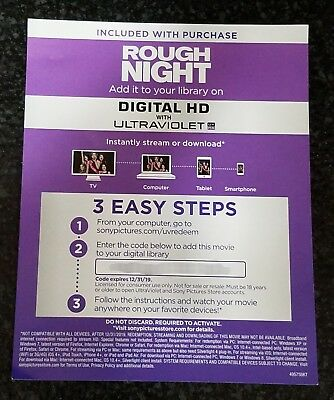Rough Night (Digital HD Code Only) *No Discs* Scarlett Johansson, Kate McKinnon