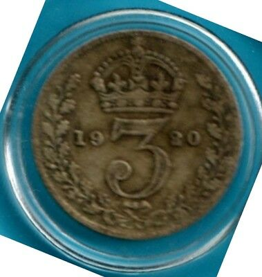 1920 UK 3 pence Silver .500 vintage jewelry making