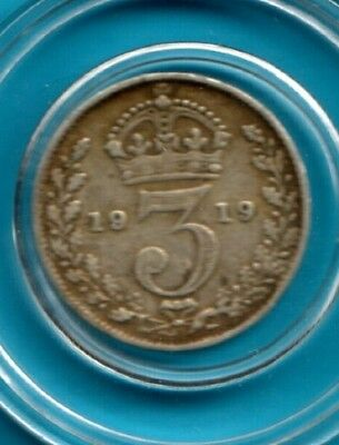 3 Pence Silver 1919 Engalnd UK Great Britain .500 coin token medal