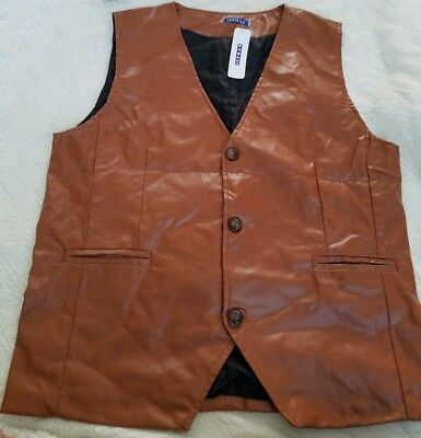 Mens Jetman Faux Leather Vest Brown 3 Button Size XXL Sleeveless