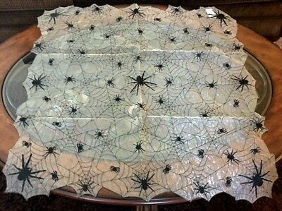 """Halloween Decor Semi-Sheer Spider Web Table Runner Tablecloth Topper 34"""" Square"""