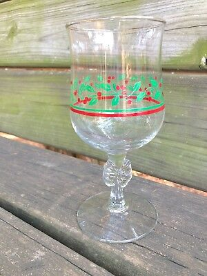 vintage ARBY'S water wine GLASS holiday stemware CHRISTMAS holly and berries