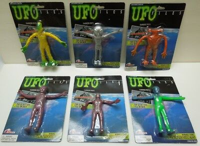 UFO FILES ALIEN FIGURES Bendable Bendy COMPLETE SET (6) ALL FACTORY SEALED