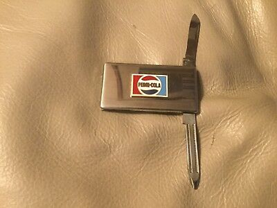 Vintage Pepsi Cola Barlow Knife Money Clip Nail File Stainless Steel