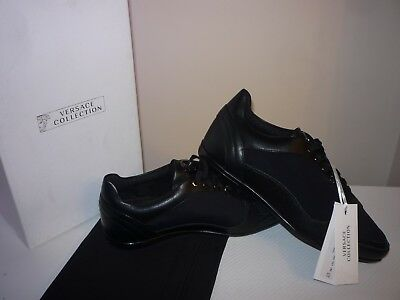 Versace Collection Black Formal Leather Trainers Lace Up Size 7 UK/41 EUR