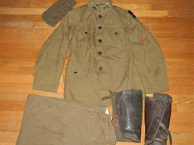 WW I US ARMY Uniform SERVICE CORPS Bullion Patch LEGGINGS Overseas CAP Trousers