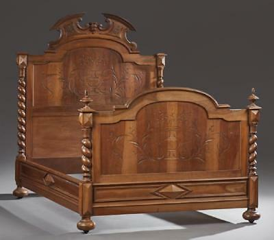 French Henri II Style Carved Walnut Bed, early 1900s
