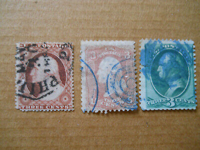 Scott #26, #65, & 3c L. Banknote With 3 Different Fancy Cancels - Faults