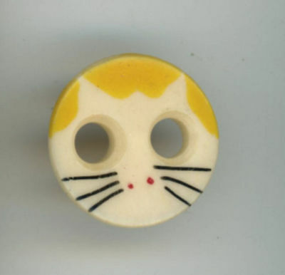 "Cute Cat Face Bone 2 hole button w painted cat details 11/16 "" dia Small  Old"