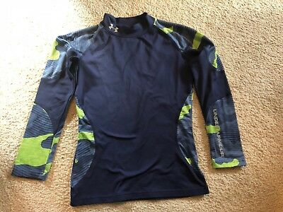 Under Armour Boys Cold Gear Fitted Long Sleeve Shirt - Size YMD