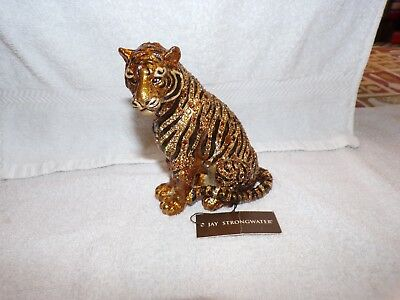 Jay Strongwater Sitting Tiger Figurine - GOLD-BLACK- YELLOWS & BROWNS