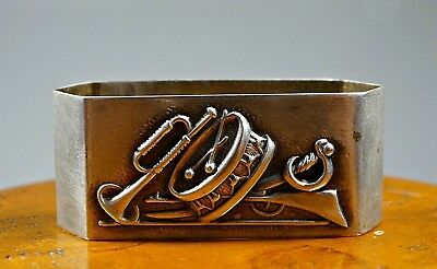 Portugal Sterling Silver Napkin Ring Whit Musical Instruments