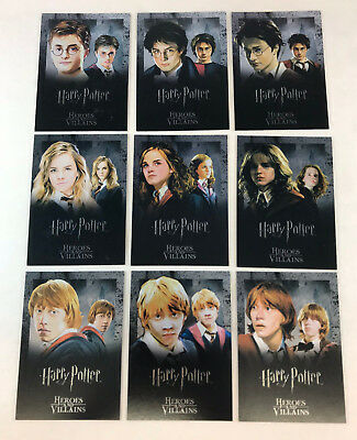 HARRY POTTER HEROES AND VILLAINS Complete FOIL Chase Card Set of 9 (#R1-R9)