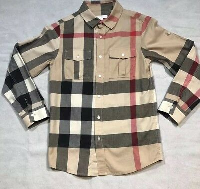 Burberry Children Boys' Button Down Shirt Long Sleeve Check Size 12 Y