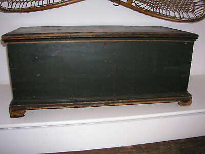 American Antique Painted Blue 5 board Dovetailed Blanket Brides Chest Bracket