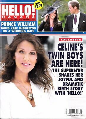 "Celine Dion ""rare"" Hello Canada Magazine 5 Pages With Rene 2010"