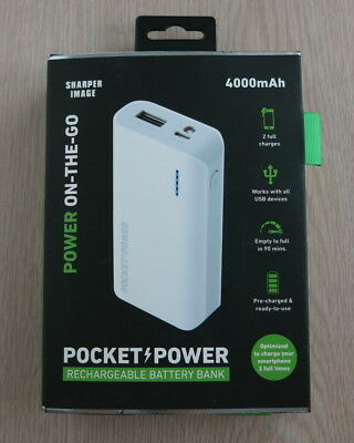 Sharper Image Power On-The-Go Rechargeable Battery Bank White - New