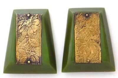 Pair Green Bakelite Dress Clips Brass Panels Floral Design