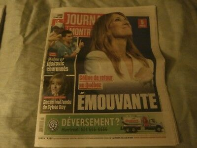 "Celine Dion ""rare"" Journal Montreal August 2016 Newspaper"