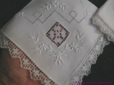 6 ANTIQUE EUROPEAN LINEN TEA NAPKINS * VALENCIENNES LACE * Embroidery FILET LACE