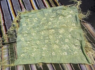 "Very Fine Antique Chinese Hand Embroidered Silk Piano Shawl 48"" X 48"" 18"" Fringe"