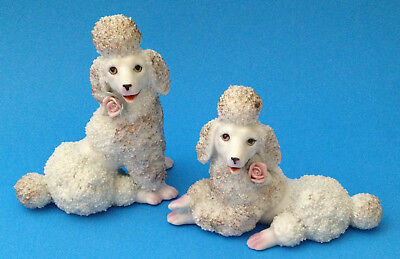 PAIR Vtg LG Poodle Dog Figurines Pink Flower Rose Sugar Texture, Japan Set of 2