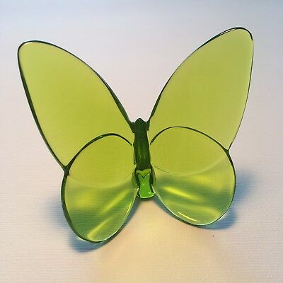 Baccarat France Crystal Art Glass Lucky Green Butterfly Collection Paperweight