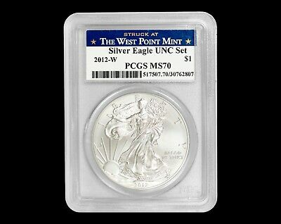2012-W $1 Silver Eagle PCGS MS70 - Annual UNC Set - Struck at West Point Mint