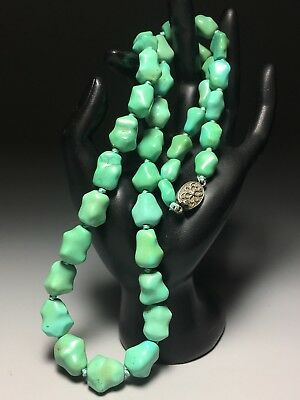 Chinese Turquoise Stone Graduated Bead Necklace Silver Clasp 25 Inch 88 Gram