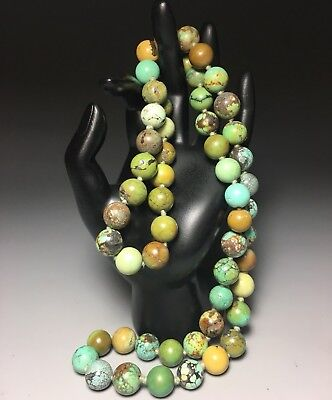 Antique Chinese Natural Turquoise Knotted Round Bead Necklace 30 Inch 146 Grams