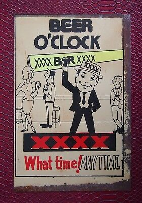 Retro Tin Sign - Beer O'clock, XXXX, What Time! Anytime - 20cm x 30cm