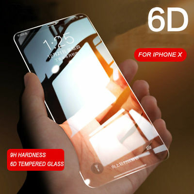 6D Tempered Glass 9H+ Screen Protector Film Full Coverage For Apple iPhone X 10
