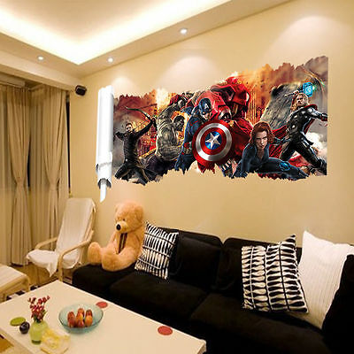 Wall Sticker Comics Marvel The Avengers Team Hulk Thor Decal Art Home Decoration