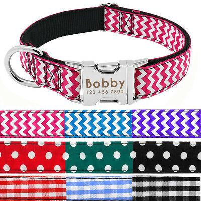 Personalized Dog Collar Engraved Heavy Duty Buckle Custom ID Tags Adjustable SML